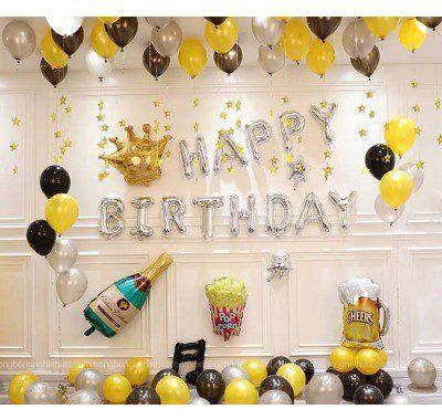 Set bong bóng sinh nhật người lớn màu bạc