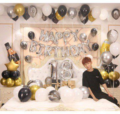Set sinh nhật tuổi 18 màu đen bạc
