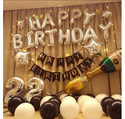 Set trang trí sinh nhật 22 tuổi màu bạc