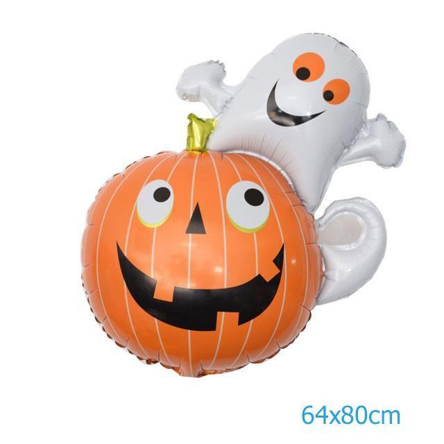 Bong bóng trang trí Halloween hình bí ngô kết hợp hồn ma baby ngộ nghĩnh
