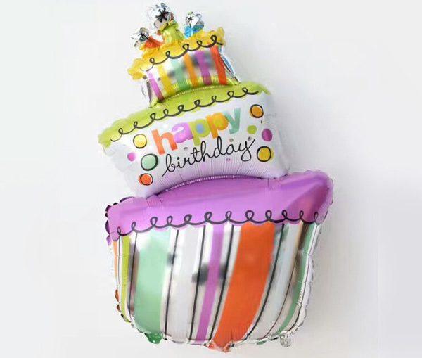 Bong bóng kiếng bánh kem Happy Birthday