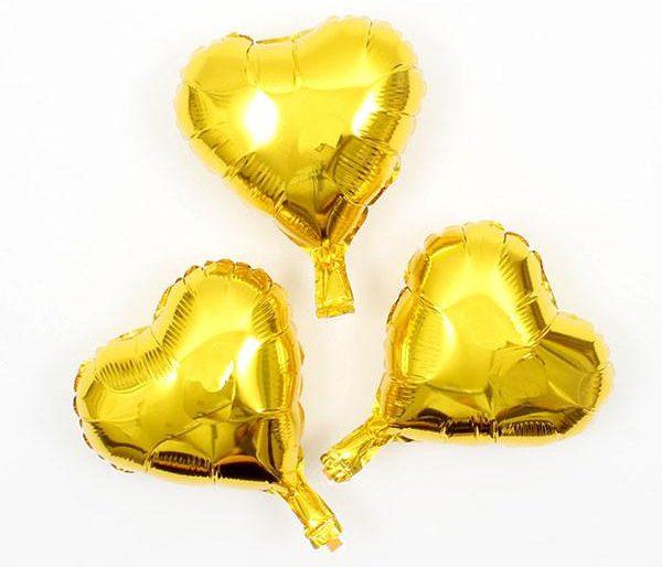 Bong bóng kiếng trái tim trung màu vàng dùng trong trang trí