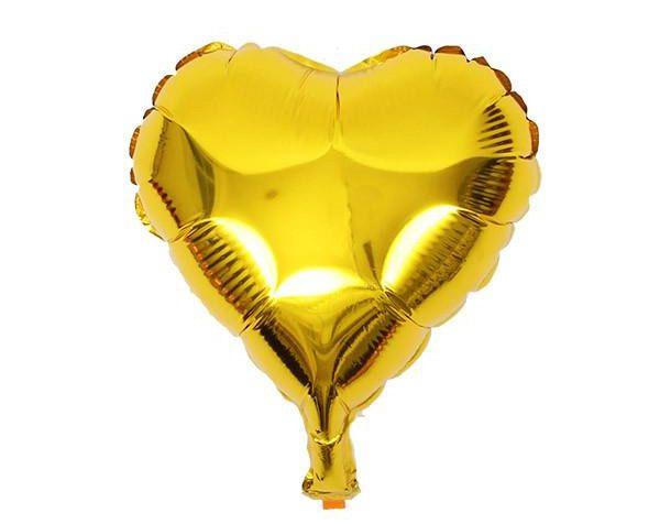 Bong bóng kiếng trái tim trung màu vàng