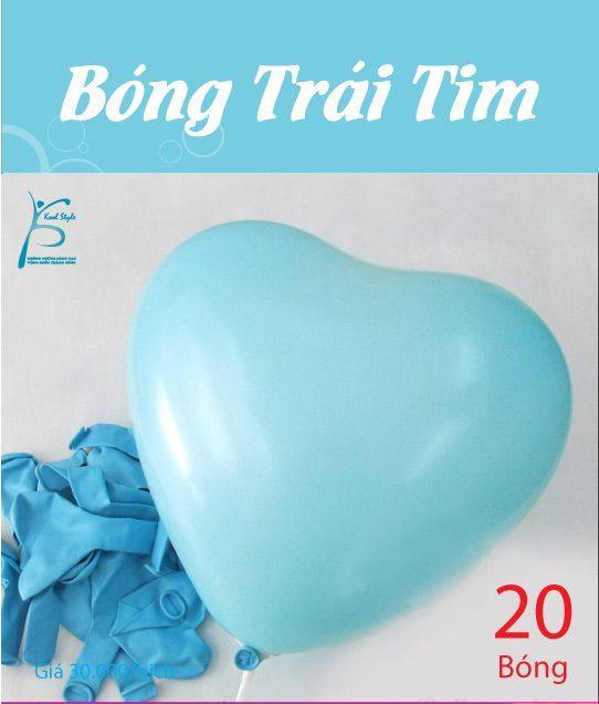 Bong bóng trái tim màu xanh