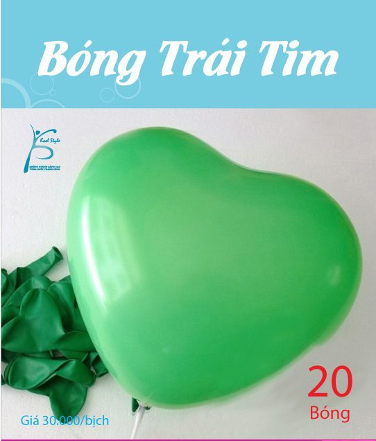 Bong bóng trái tim màu xanh lá