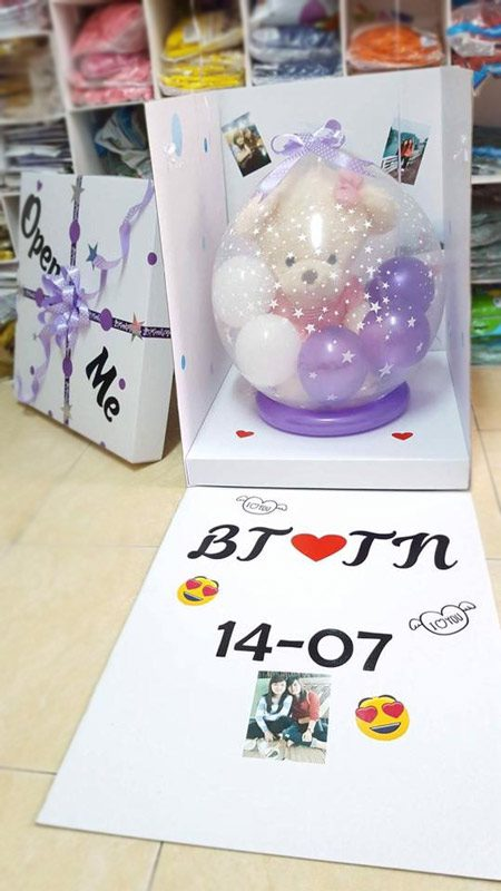 Hộp quà bong bóng gấu nhồi bông màu tím