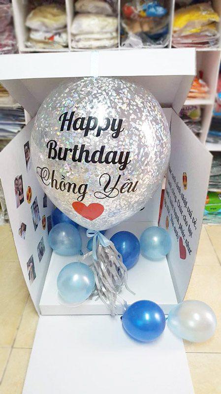 Hộp quà bóng bay tặng sinh nhật chồng