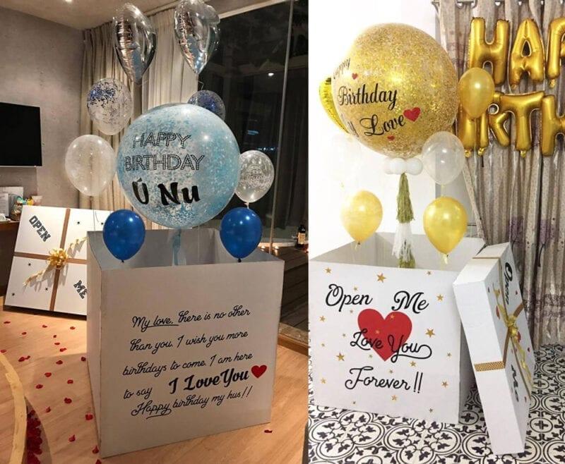 Hộp quà bong bóng sinh nhật