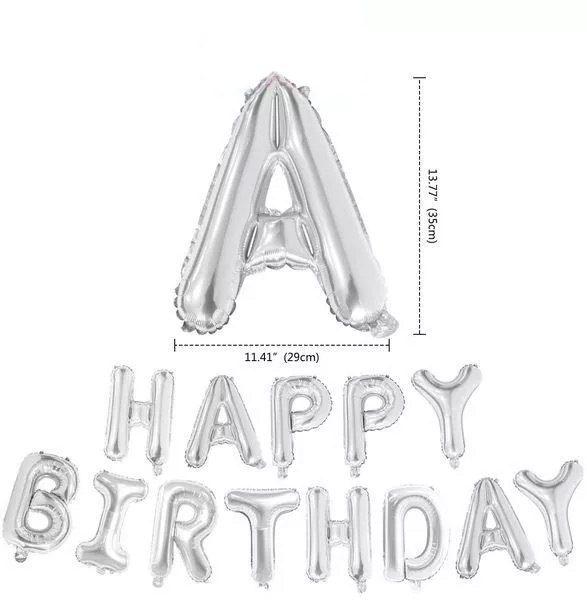 Kích thước chữ cái bong bóng Happy Birthday màu bạc