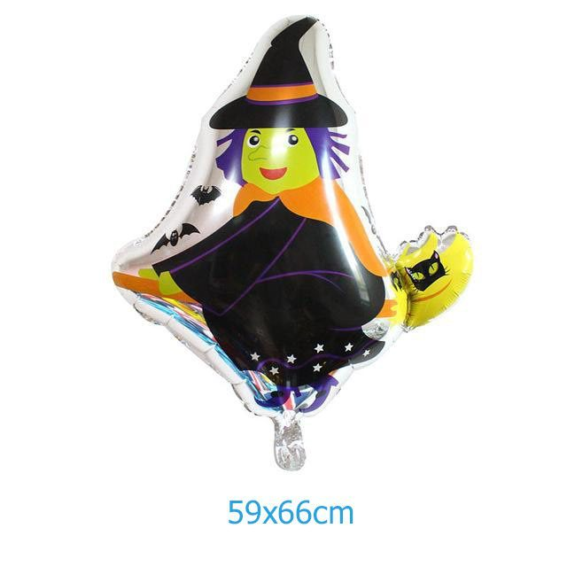 Bong bóng kiếng Halloween phù thủy cưỡi chổi