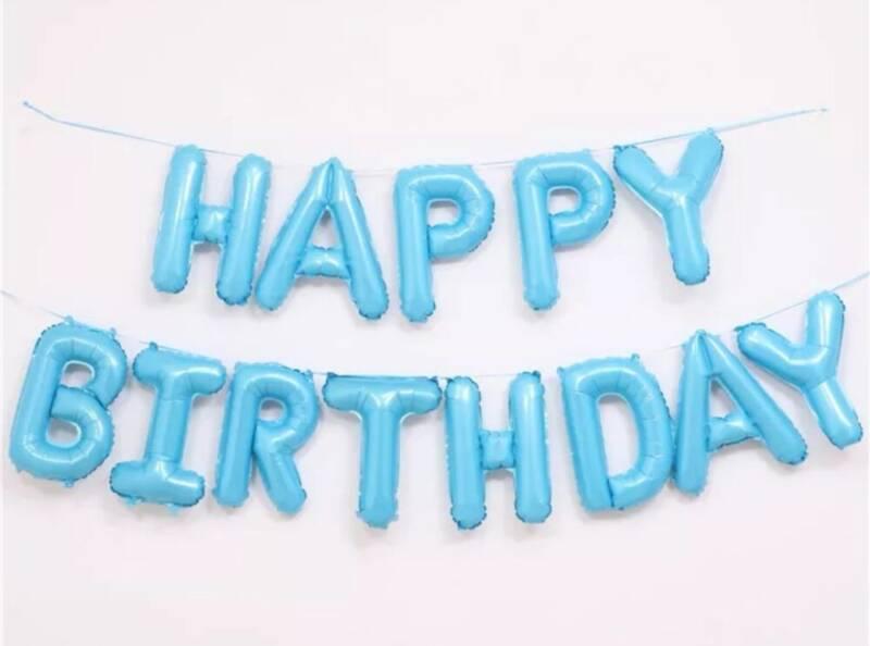 Set chữ Happy Birthday bong bóng màu xanh