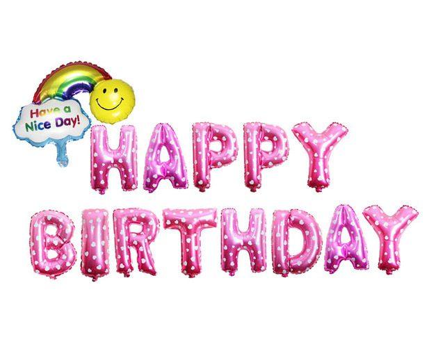 Set bong bóng chữ Happy Birthday màu hồng chấm bi