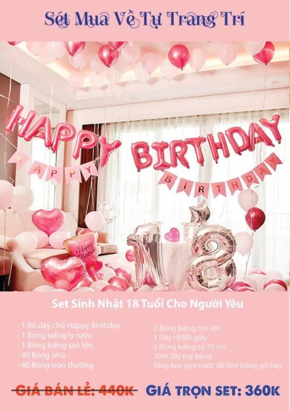 Set trang trí bong bóng sinh nhật 18 tuổi cho người yêu