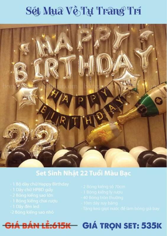 Trang trí bong bóng sinh nhật 22 tuổi màu bạc