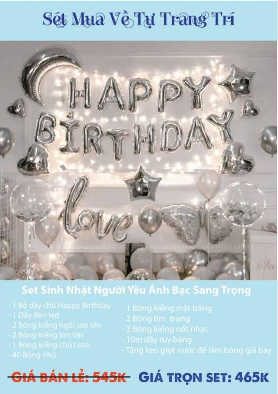 Set bong bóng trang trí sinh nhật người yêu ánh bạc sang trọng
