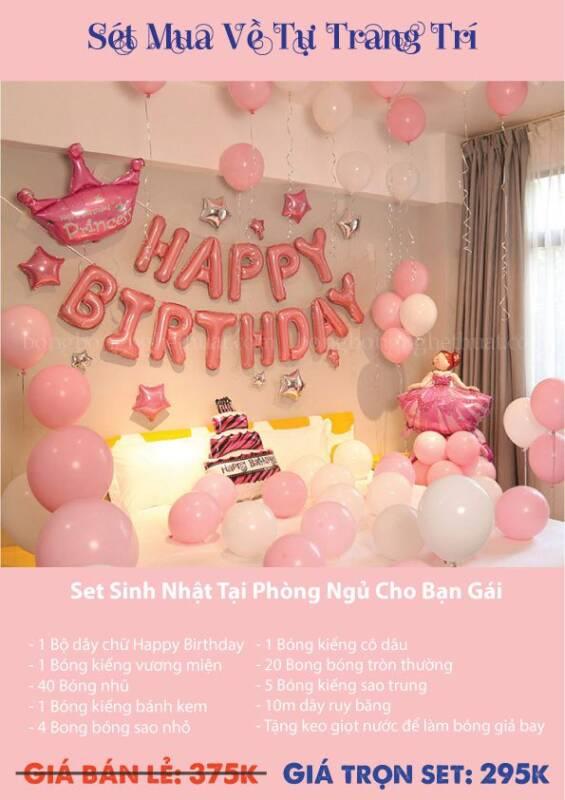 Trang trí bong bóng sinh nhật màu hồng tại phòng ngủ bạn gái
