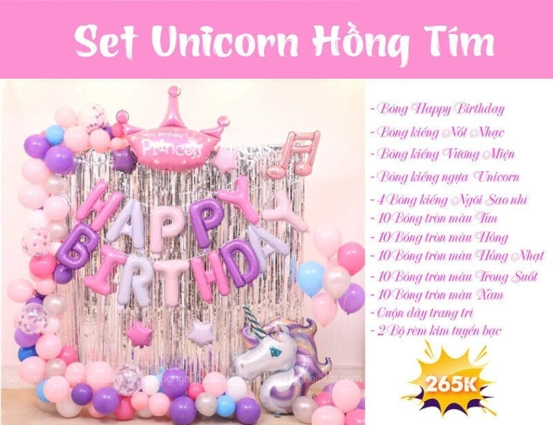 Set  bong bóng Unicorn hồng tím và rèm