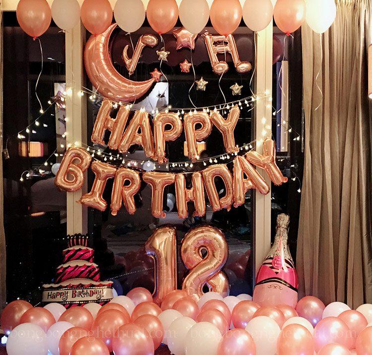 Set bong bóng trang trí sinh nhật hồng tuổi 18