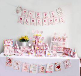 Tự mua đồ trang trí sinh nhật thôi nôi cho bé gái chủ đề Kitty