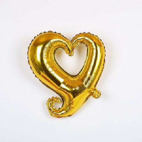 Bong bóng kiếng trái tim tình yêu màu vàng